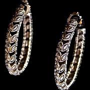 Designer Sterling Silver Laurel Leaf Cut Out Hoop Earrings J HARDY