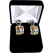 Classic Yurman Double Cable Sterling 18K Gold J-Hoop Earrings