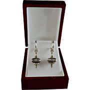 Vintage Sterling Silver Caviar Lantern Drop Earrings