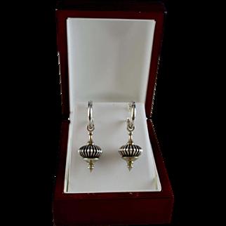 Vintage Sterling Silver Caviar Lantern Drop Earrings