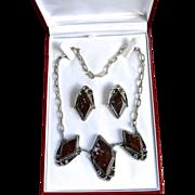 Deco Style Sterling Mahogany Jasper Necklace Set