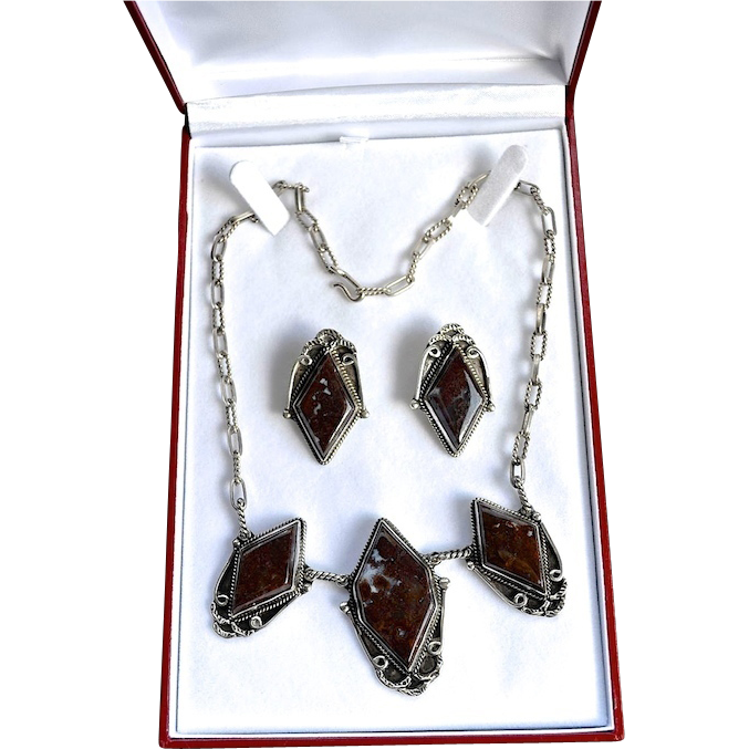 Deco Style Sterling Mahogany Jasper Necklace Set