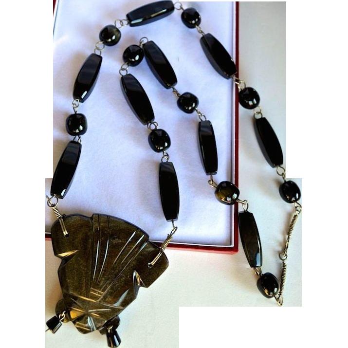 Vintage Black Carved Obsidian Stone Tribal Necklace