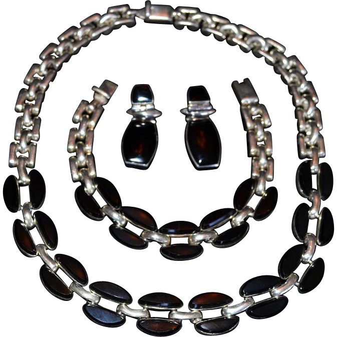 Extravagant Mexican Sterling Silver Onyx Three Piece Parure