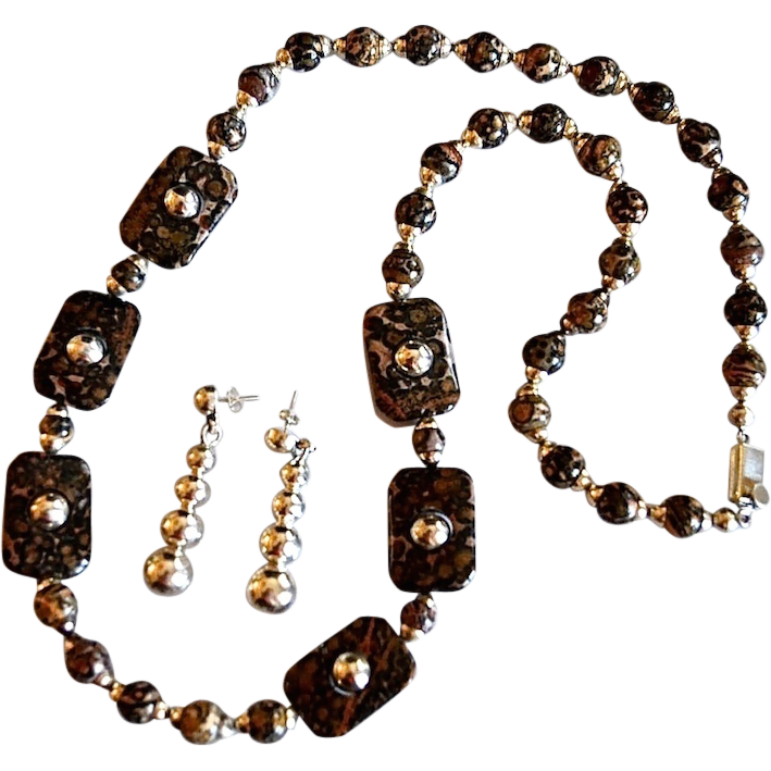 "Amazing 30"" Leopard Jasper Sterling Bead Necklace Mexico"