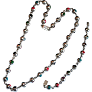 Mexican Sterling Encased Glass Bead Necklace Set