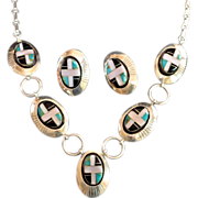 Native American Navajo Artisan Inlay Sterling Necklace Set