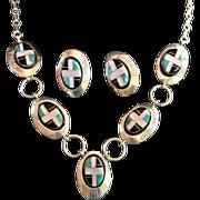 Native American Navajo Artisan Inlay Sterling Necklace Set