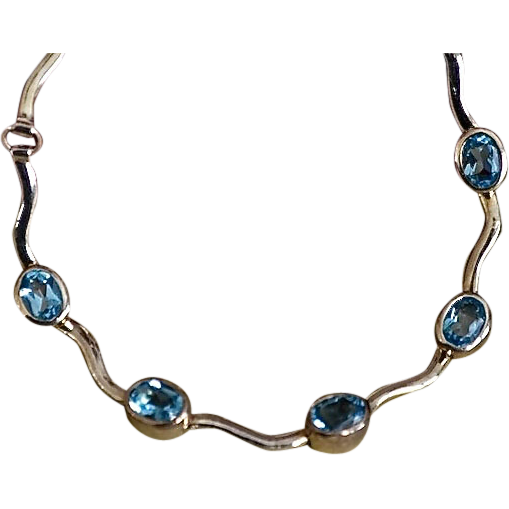 Modernist Sterling Topaz Gemstone Wave Necklace