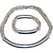Modernist Handwrought Sterling Silver Necklace & Bracelet