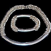 Modernist Handwrought Sterling Silver Necklace & Bracelet - Red Tag Sale Item