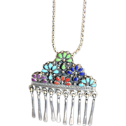 Zuni Sterling Silver Floral Waterfall Pendant Necklace