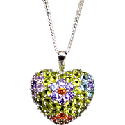 Sterling Faceted Swarovski Crystal Cluster Pendant Necklace