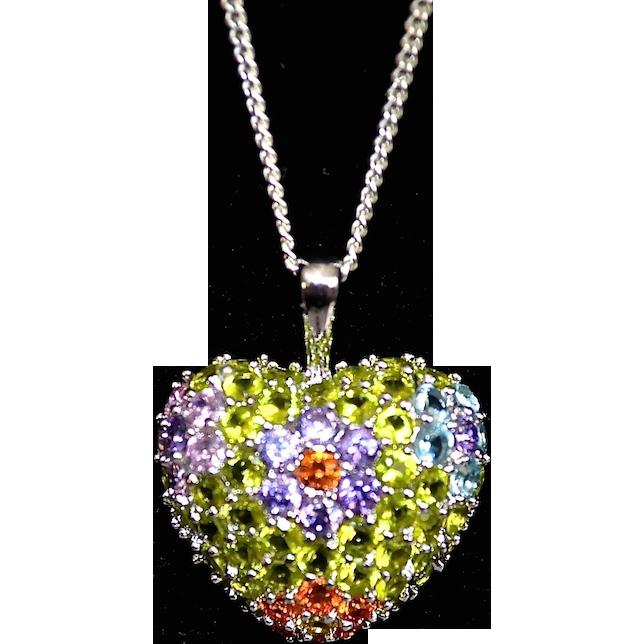 Sterling Faceted Swarovski Crystal Cluster Pendant Necklace