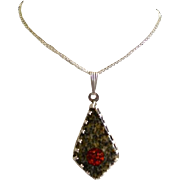 Artisan Crafted Polished Granite & Fiery Opal Sterling Silver Pendant
