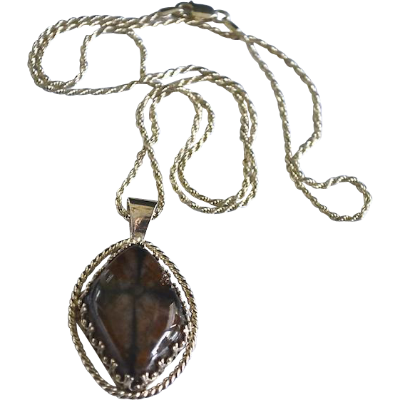 Sterling Silve Artisan Black Brown Jasper Pendant Necklace