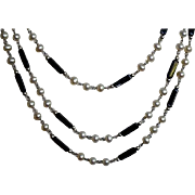 Opera Length Faux Pearl & Black Jet Beaded Sterling Lariat Necklace