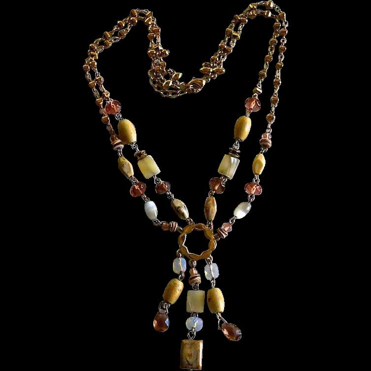 Vintage 14K Gold Plated Multi-Gemstone Lariat Tassle Necklace