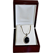 Ornate Sterling Silver Black Onyx Pendant Necklace