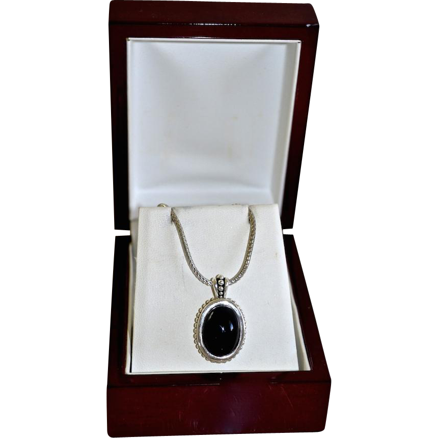 Ornate Sterling Silver Black Onyx Pendant Necklace