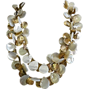 Sterling Silver Chunky Mother of Pearl Bib Necklace