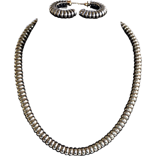 Chunky Caviar Lagos Sterling Silver Wide Cable Necklace / Earrings Set