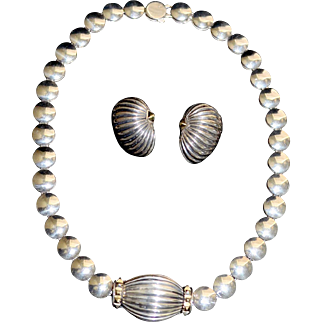 Designer Sterling Silver 18K Gold Accent Coin Necklace Lagos Caviar