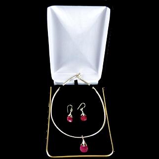 Natural Ruby Gemstone Ginkgo Leaf Sterling Pendant Necklace