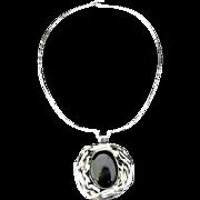 Modernist Hammered Sterling, Pewter, Black Onyx Pendant Necklace