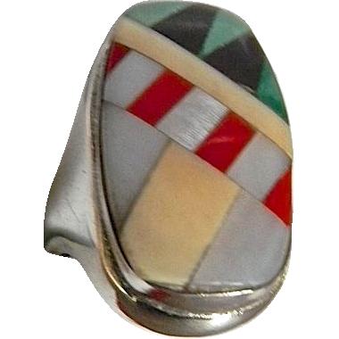 Custom Modernist  Artisan Sterling Inlaid Gemstone Ring