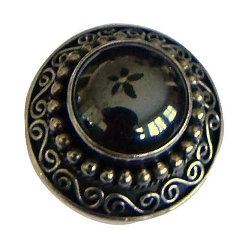 Fancy Sterling Silver Oval Hematite Ring Decorative Setting