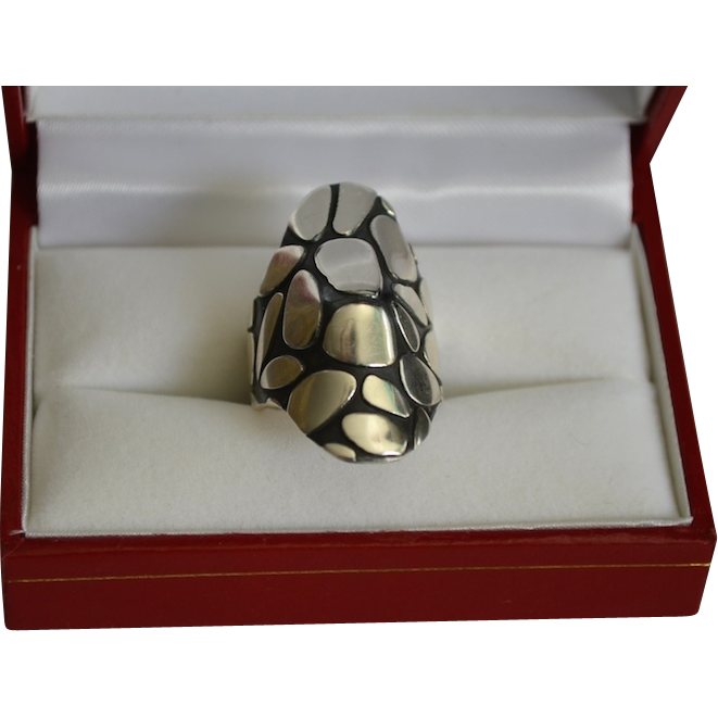 Modernist Sterling  Silver Mexico Kali / Tortoise Shell Ring