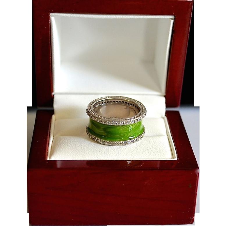 High Fashion Sterling Crystal Enamel Ring