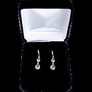 14K Gold Chalcedony Quartz Opaque Dual Drop Earrings