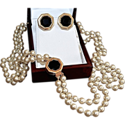 Elegant Swarovski Double Strand Glass Pearl Opera Necklace Set