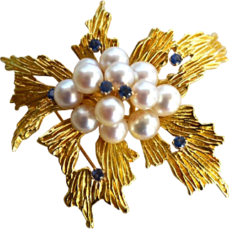 Tiffany 18K Gold Ceylon Blue Sapphire & Cultured Pearl Evening Brooch