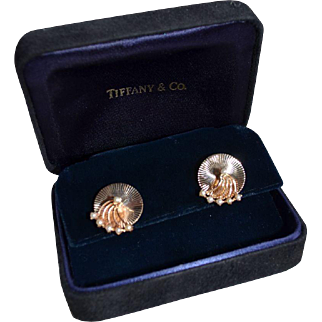 Estate Tiffany & Co 14K Gold Freshwater Pearl Trembler (Spin) Pierced Earring