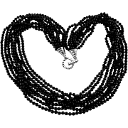 Tiffany & Co Sterling Multi-Strand Onyx Torsade Style Necklace
