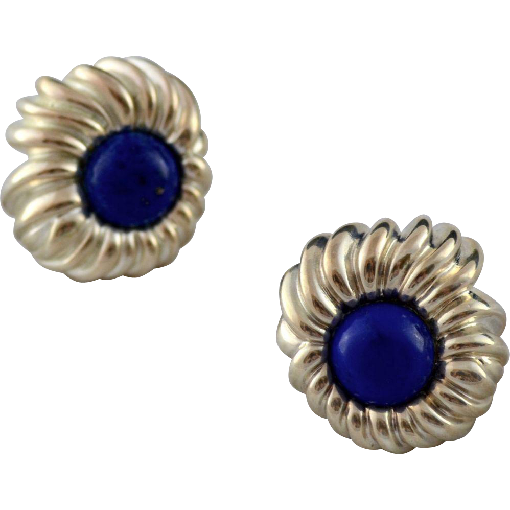 Tiffany & Co Lapis Sterling Chrysanthemum Floral Earrings