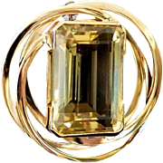 Tiffany & Co 14K Gold Emerald Cut Lemon Citrine Brooch / Pendant