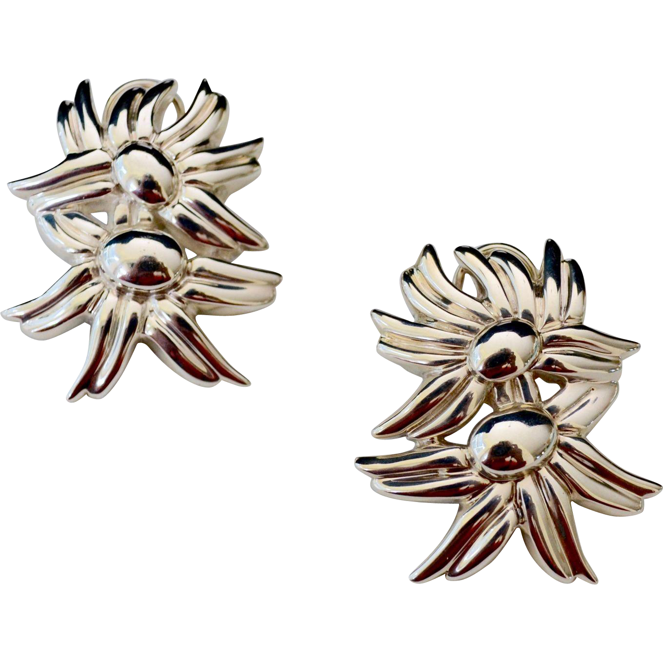 Vintage Tiffany & Co Sterling Silver Marigold Cluster Pierced Earrings