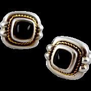 Tiffany  Co 18K Gold Braided Sterling Onyx Gemstone Earrings