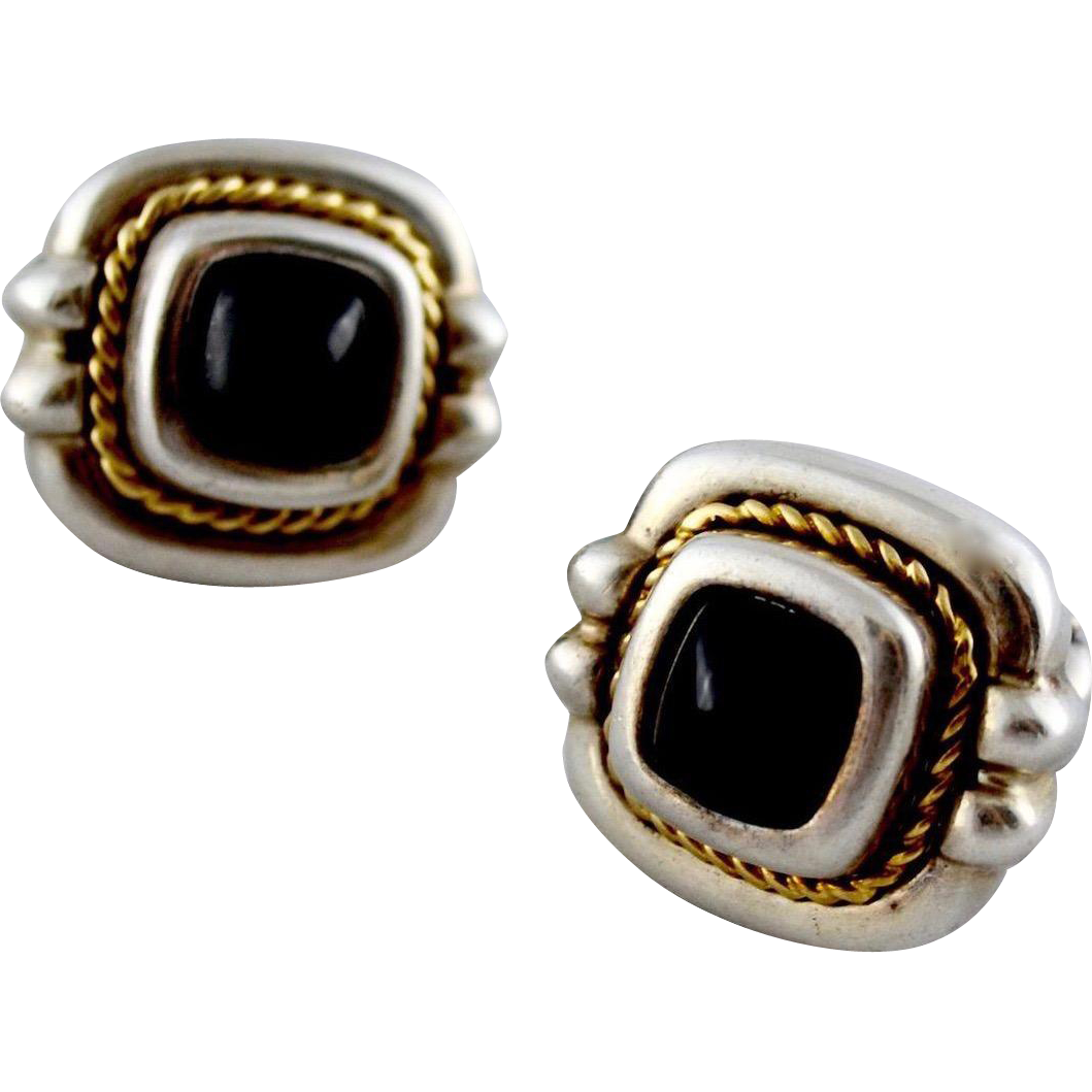 Tiffany  Co 18K Gold Braided Sterling Onyx Gemstone Earrings