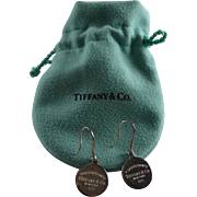 Tiffany & Co Sterling Silver Return To Logo Drop Earrings