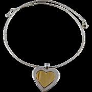 Vintage Tiffany Sterling 18K Gold Large Heart Pendant Necklace