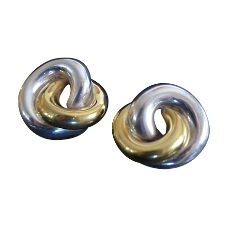 Modernist VARSANO Sterling Vermeil Love Knot Earrings