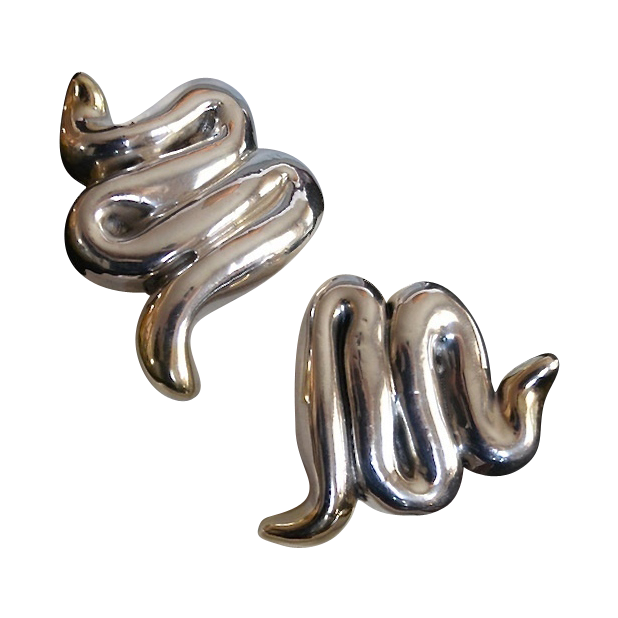 Designer VARSANO Sterling Gold Vermeil Snake Earrings