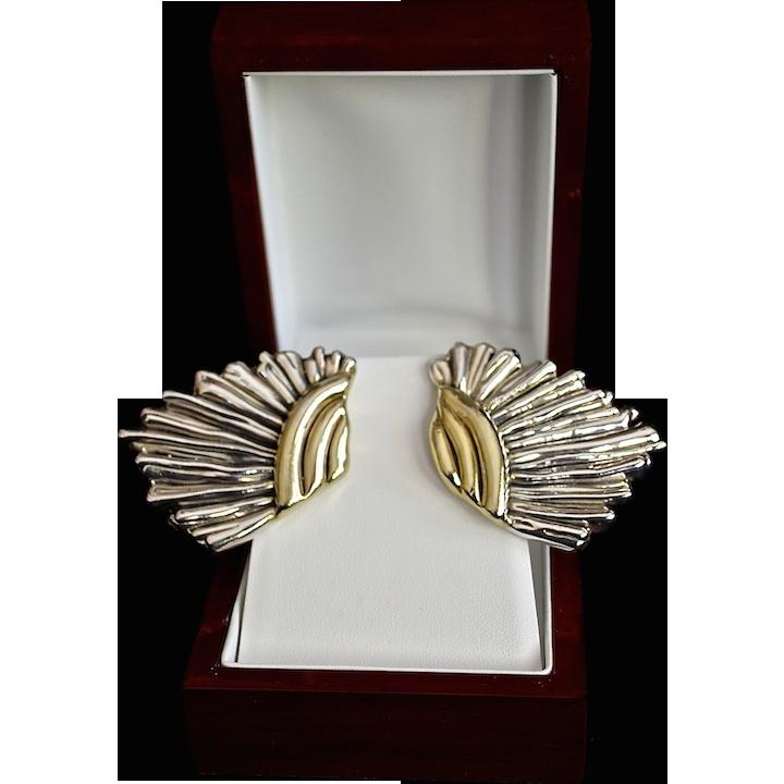 Designer Varsano Sterling Gold Vermeil Wing Earrings