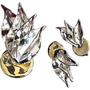 Modernist VARSANO Sterling Vermeil Leaf Brooch & Earrings