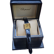 Gold 18K Chopard / Tiffany Deco Style Tank Watch Crocodile Leather Band